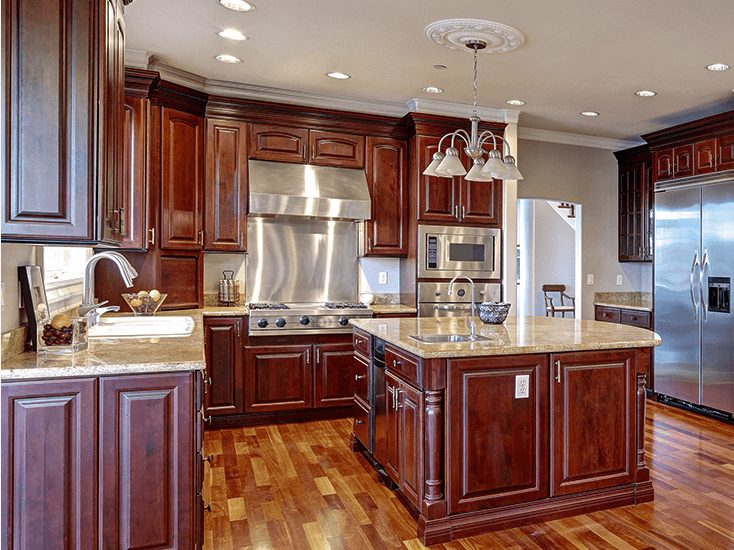 custom wooden kitchen with island