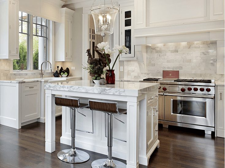 custom white kitchen with island